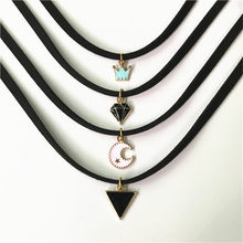 Hot sale retro gothic choker necklace collar punk black velvet suede women short necklace chain jewelry Bijoux wholesale cheap(China)