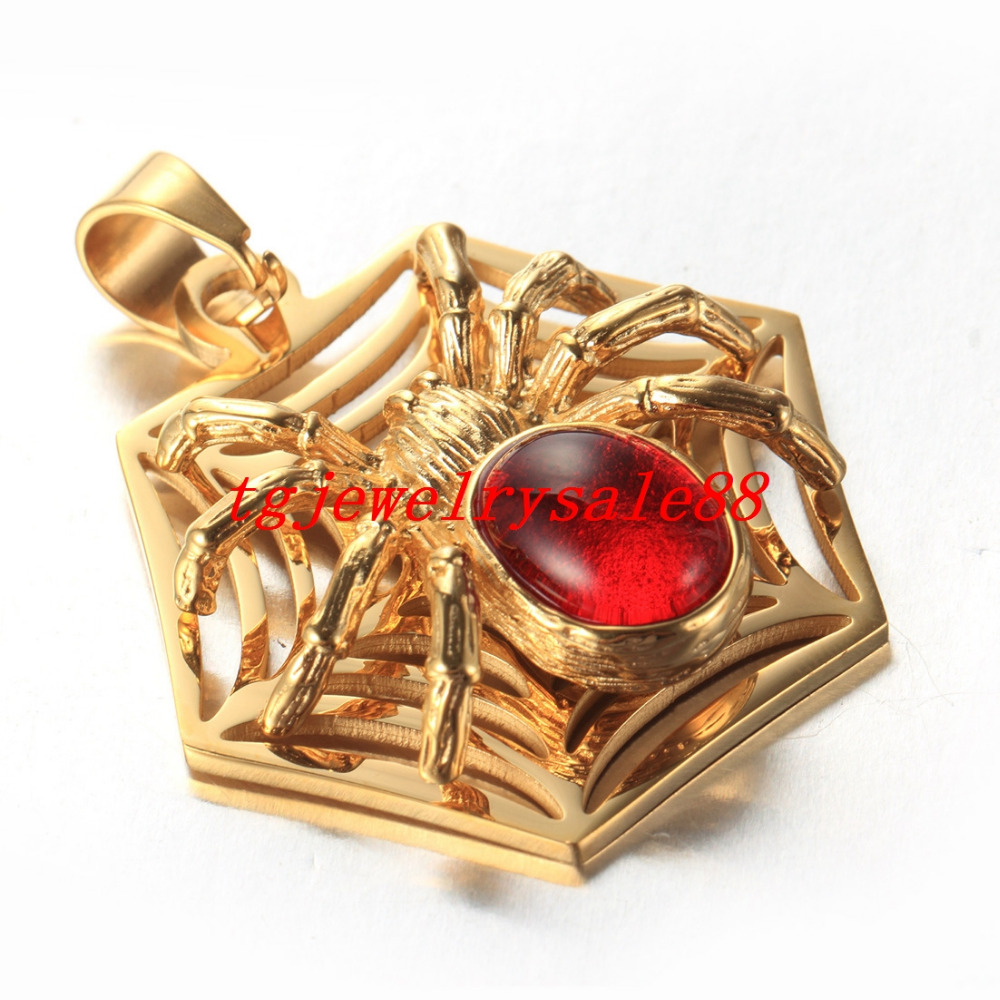 Chic Fashio Design Gold Red Stone Spider Web Pendant Charm Womens Mens Stainless Steel Necklace Jewelry Free Box Chain 24