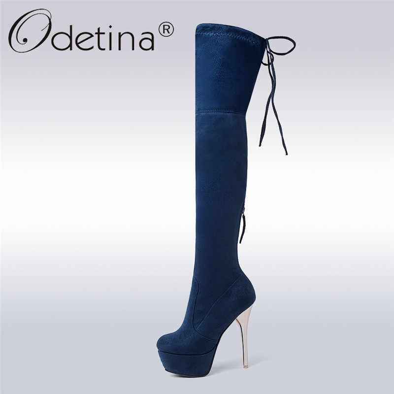 Odetina Yeni Moda Süet Bayan Seksi Uyluk Çizmeler Kadın Süper Yüksek Topuklu Stilettos Üzerinde Kayma Zip Platform Çizmeler Peluş Kış sonbahar