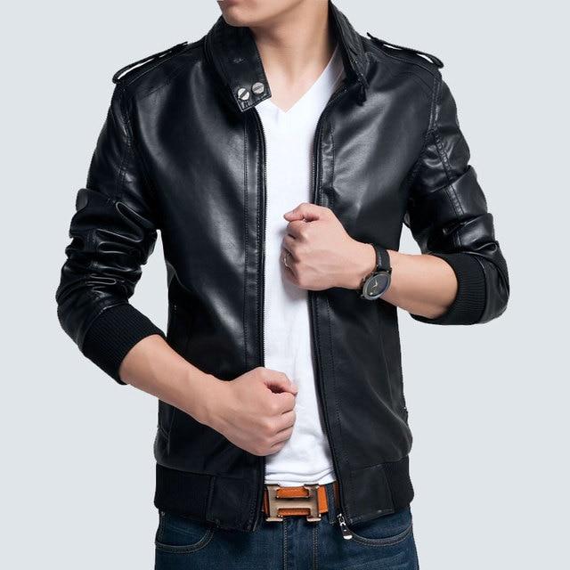 149257e08c Giacca Pelle Uomo 2016 Spring Brand New Fashion Casual Lederjacke Men  Jacket Leather 4XL Plus Size XXXXL Black Slim Mens Coats