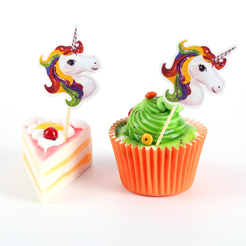24pcs/bag Unicorn Cupcake Topper Unicorn Party Wedding ...