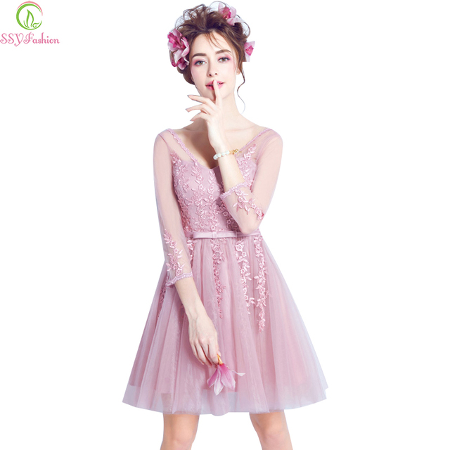 Sweet Pink V Collar Lace 3 4 Sleeved Short Bridesmaid Dresses SSYFashion  The Bride Banquet Sexy Party Gown Homecoming Dresses a07f308eb6ea