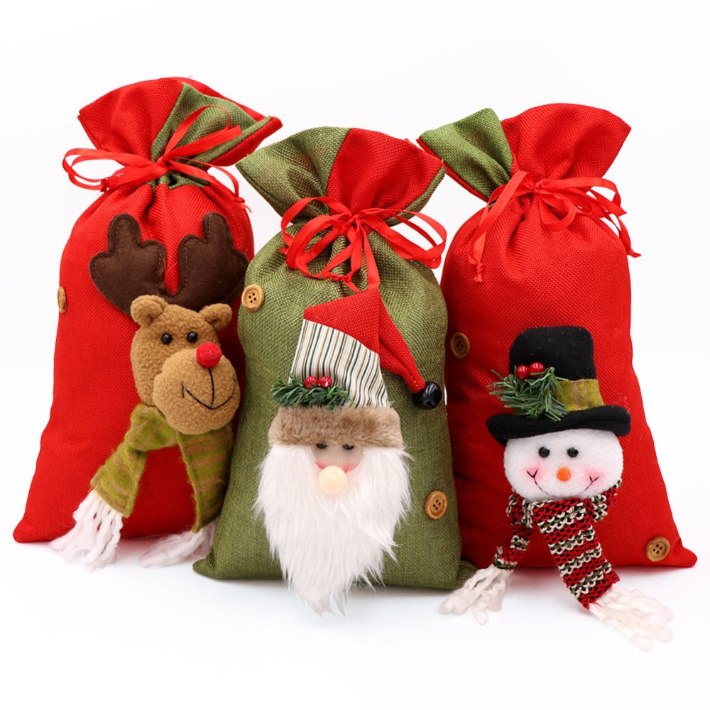 233cca61faef OurWarm Christmas Large Gift Bags Drawstring 3D Santa Claus Snowman Gift  Bag Kids Xmas Decoration New Year Gifts Santa Sack Bag