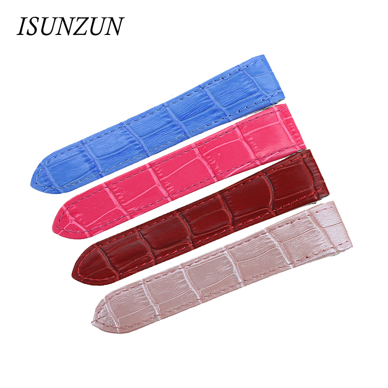 ISUNZUN 20cm 23cm Men's Watch Band For Cartier Santos100 Genuine Leather Watch Strap Nato Calf Leather Strap For Men Watchband women crocodile leather watch strap for vacheron constantin melisa longines men genuine leather bracelet watchband montre