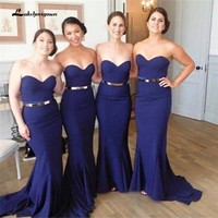 Navy Blue Plus Size Bridesmaids Dresses Cheap Sweetheart Mermaid Arabic Long Wedding Party Dresses with Gold Belt