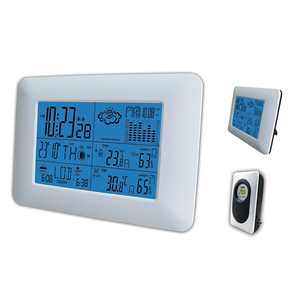 Wireless Weather Station Digital LCD Indoor Outdoor Temperature Humidity Barometer Hygrometer Thermometer Sunrise Sunset Clock 1 9 mini digital lcd indoor outdoor thermometer with clock 50 70 c 1 lr44
