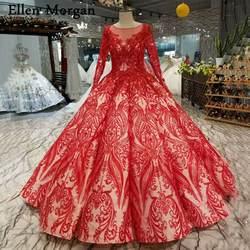 Красные кружевные вечерние, свадебные платья с одежда с длинным рукавом 2019 Vestido De Noiva 3D цветы жемчуг Винтаж Свадебные платья «Принцесса»