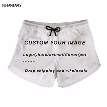 INSTANTARTS Custom Your Own Logo/Image/Photo Print Woman/Girls Summer Shorts Diy Your Design Short Pants High Waist Board Short