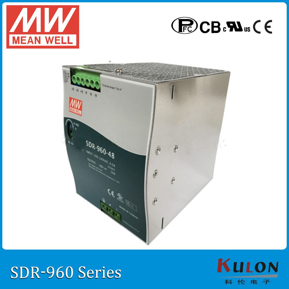 Original MEAN WELL SDR-960-24 Single Output 960W 24V 40A Industrial DIN Rail Power Supply SDR-960 with PFC mean well original sdr 480p 24 24v 20a meanwell sdr 480p 24v 480w industrial din rail with pfc and parallel function