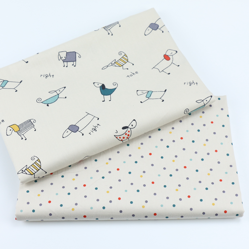 Syunss Beige Dog Dot Printed cotton twill fabrics for DIY bedding apparel the cloth patchwork baby dress handwork tissus Tecido