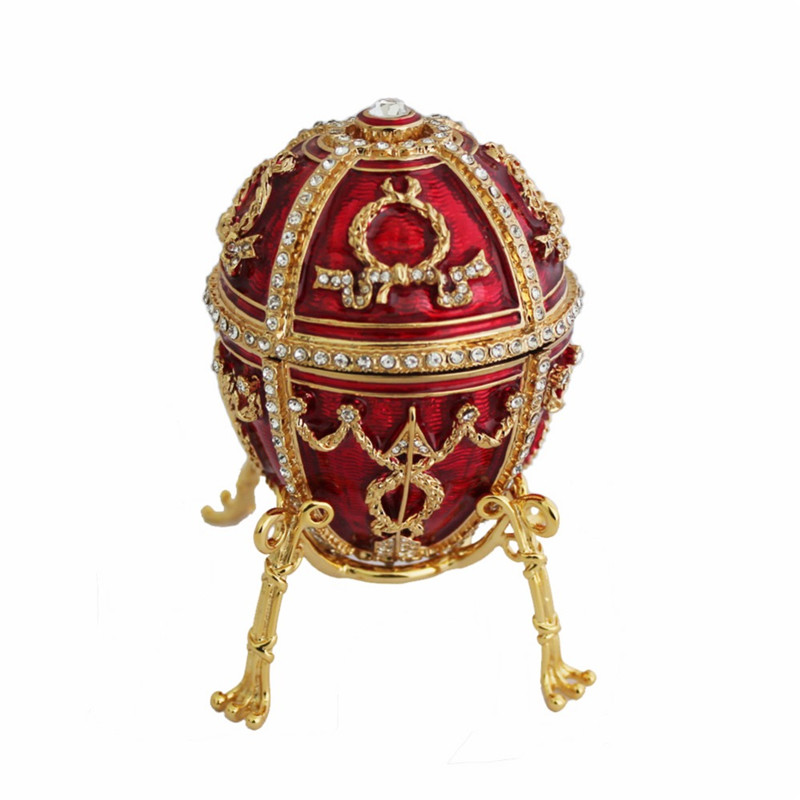 YAFFIL Jewelry Box Handcraft Red Vintage Egg Cases Rosebud Standing Box For Trinket Storage Luxury Jewellery