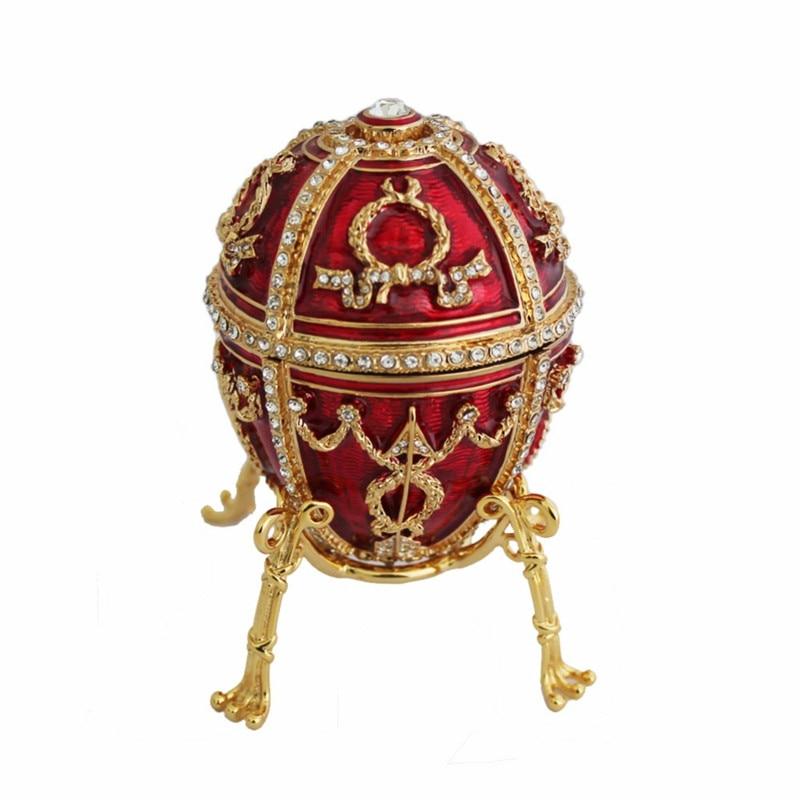 YAFFIL Boîte à Bijoux Artisanat Rouge Vintage Oeuf Cas Rosebud Box Debout Pour Bijou De Stockage boîte à Bijoux De Luxe À La Main