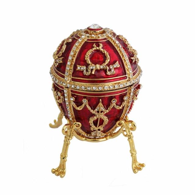 YAFFIL Jewelry Box Handcraft Red Vintage Egg Cases Rosebud Standing Box For Trinket Storage Luxury Jewellery