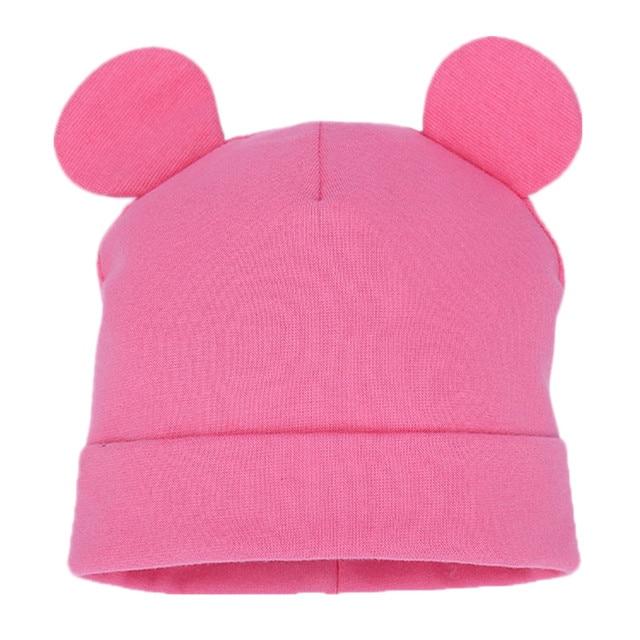 ילדי כותנה מוצק כובע רך חם כובע קריקטורה חמוד דוב אוזן כובעי ילדה חמוד אוזני אביב סתיו תינוק & ילדים כפה כובעים