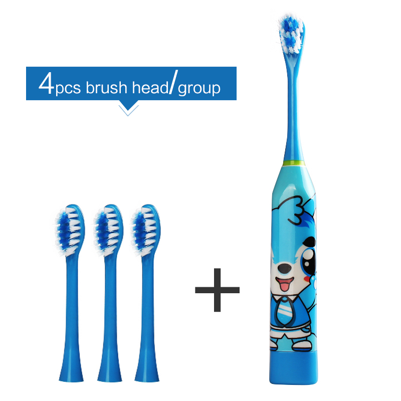 4Pcs Replaceable Heads Children Electric Toothbrush Acoustic Wave Electric Brush  Soft Bristle Kids Tooth Brush Electric