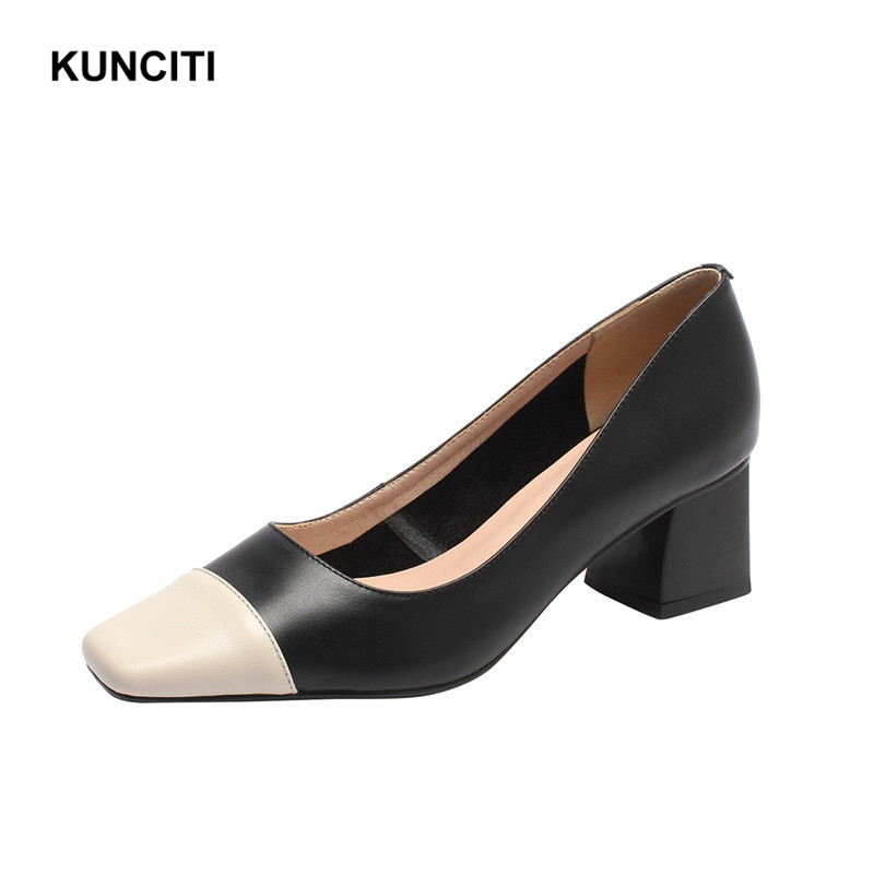 2019 Ladies Office Heels Shoes Square Toe Sexy Pumps Patchwork Chunky High Heel Shoes Genuine Leather