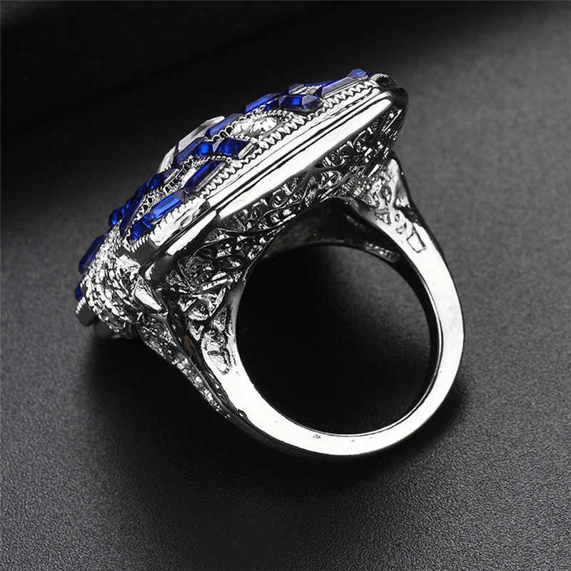 Квадратные AAA + циркониевые кольца наборы для женщин Свадебные украшения Топ большие сверкающие камни из кубического циркония смешанные цвета классические кольца на палец