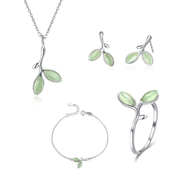 RE Original s925 ensembles de bijoux en argent opale feuille bourgeon boucles d'oreilles anneau collier bracelet pour femmes cadeau de mariage bijoux de charme BG10