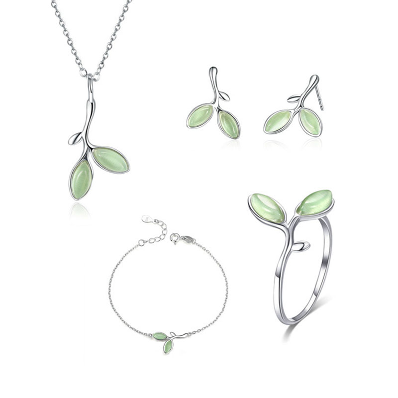 RE Original s925 silver jewelry sets opal leaf bud earrings ring necklace bracelet for women wedding gift charm jewelery BG10 a suit of delicate rhinestone hollow out leaf necklace bracelet earrings and ring for women