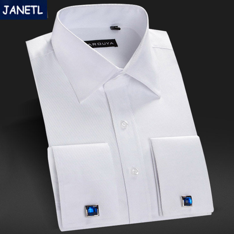 Popular white french cuff dress shirts buy cheap white for Mens white french cuff shirt