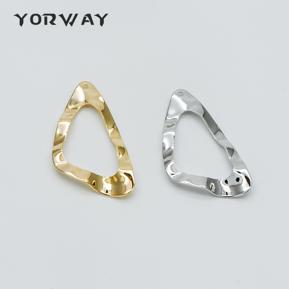 10pcs/ Lot Hammered Triangle Circle Charms 33mm, Polished Gold/ Silver Irregular Triangle Pendants (GB-401)