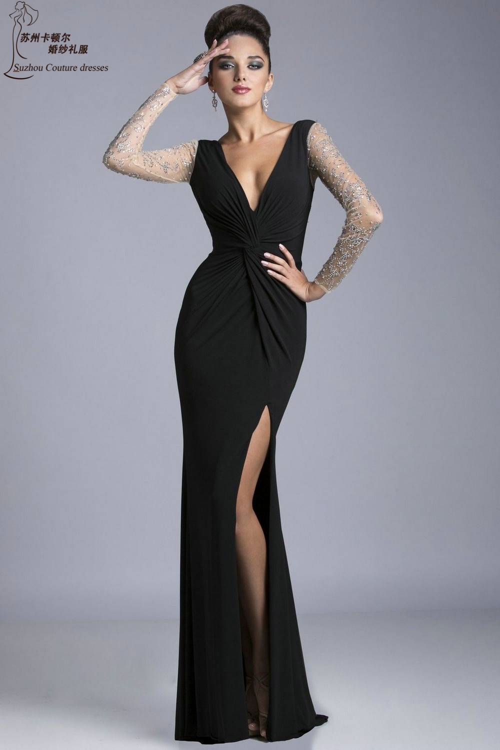 Mermaid Long Sleeve Black Prom Dresses Pm1140 Sexy V Neck Long Party