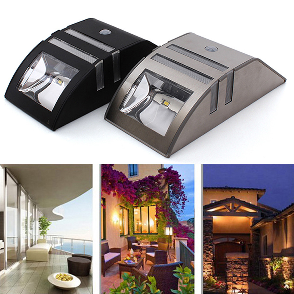 2 LED Solar Power Motion Sensor Light Wall Garden Lamp