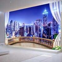 3D Papel tapiz ciudad edificio noche paisaje foto Mural De pared Sala De estar dormitorio café fondo De pared papeles Papel De Parede Sala