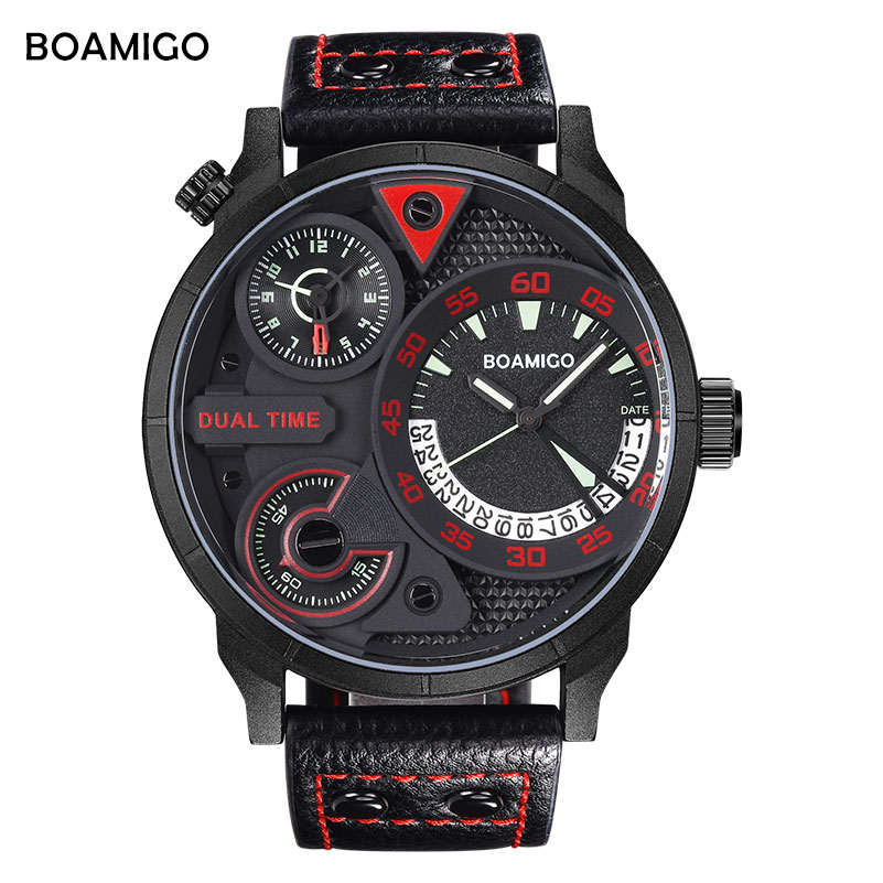 მამაკაცები სპორტული საათები BOAMIGO ბრენდის ფუფუნება მამაკაცები კვარცის საათები ტყავის ორმაგი საათის მაჯის საათები 30 მ წყალგაუმტარი საათი relogio masculino