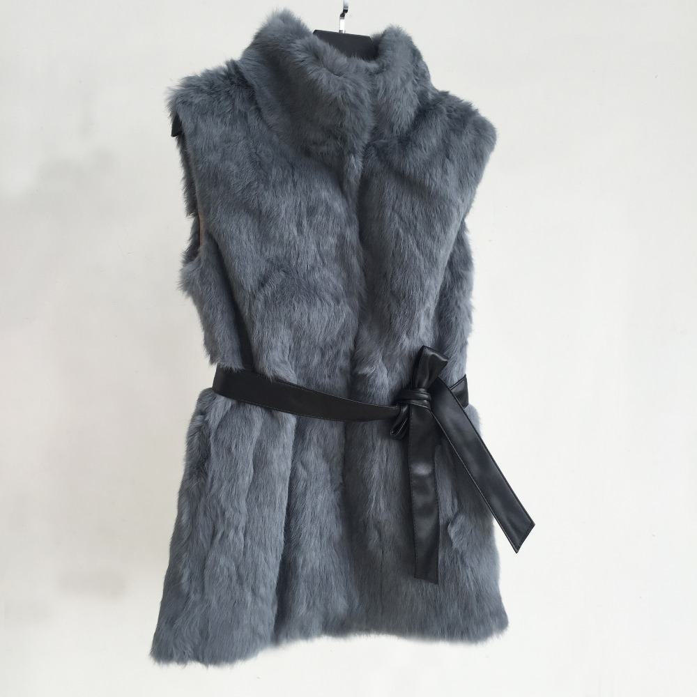 Dark Grey and Any Color Factory Customize Plus Size Genuine Real Whole Rabbit Fur Vest with