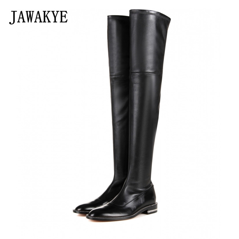 JAWAKYE New Sexy Round Toe Genuine Leather Flat Over The Knee Boots Women Soft Sheepskin back Stretch Thigh High Boots for women