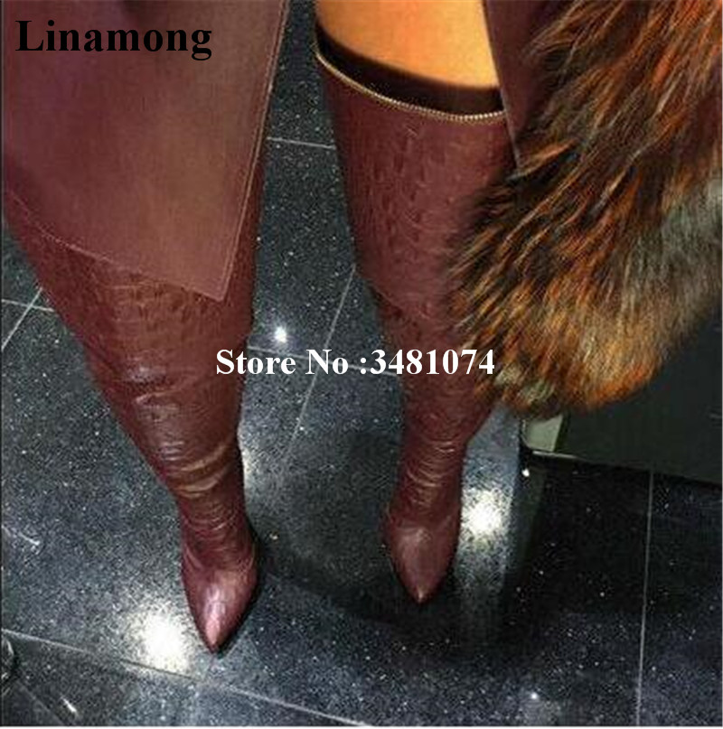 Red Black Green Women Spring Autumn Over The Knee Long Boots Pointed Pleated Thin Heels Long Boots Solid Women Thigh High Boots women spring autumn lace up over the knee boots pointed cross tied and spike heels long boots solid high heels boots