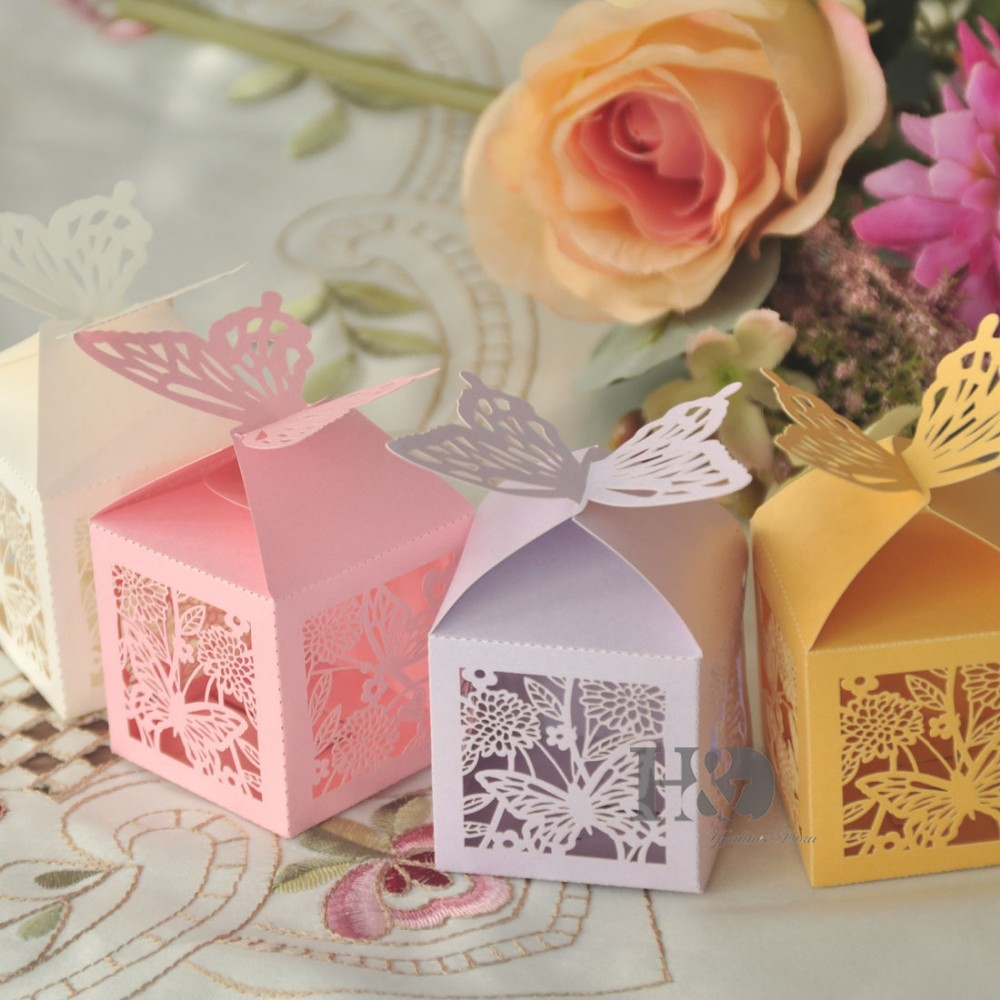 Four color for your chose Laser Out Butterfly Candy Boxes Souvenirs ...