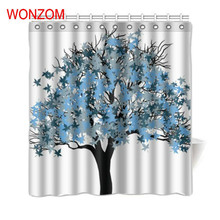 WONZOM Polyester Fabric Tree Shower Curtains with 12 Hooks For Bathroom Decor Modern Bath Waterproof Curtain 2017 New Home Gift