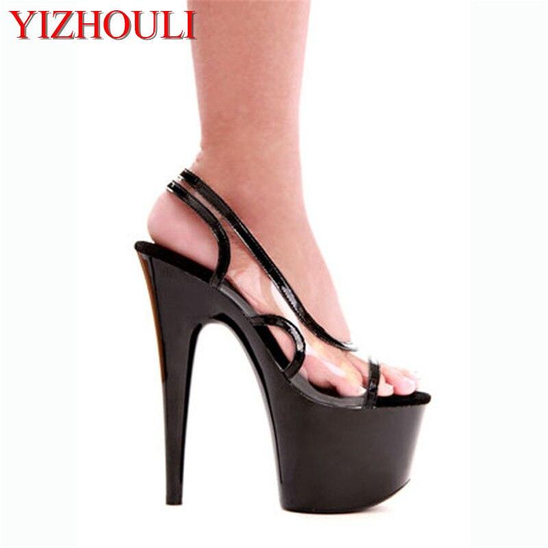 b1ca385f Klasyczne Otwarte Toe Platformy Kobiet 17 cm Wysoki Obcas Buty, otwórz Toe  Stiletto, sandały, 7 Cal Buty Ślubne (2 kolory)