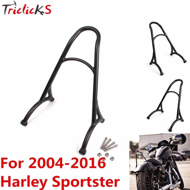 Triclicks Black / Chrome Burly Short Sissy Bar Backrest Motorcycle Bracket Rack For Harley Sportster Iron 1200 883 XL 2004-2016 burly short sissy bar