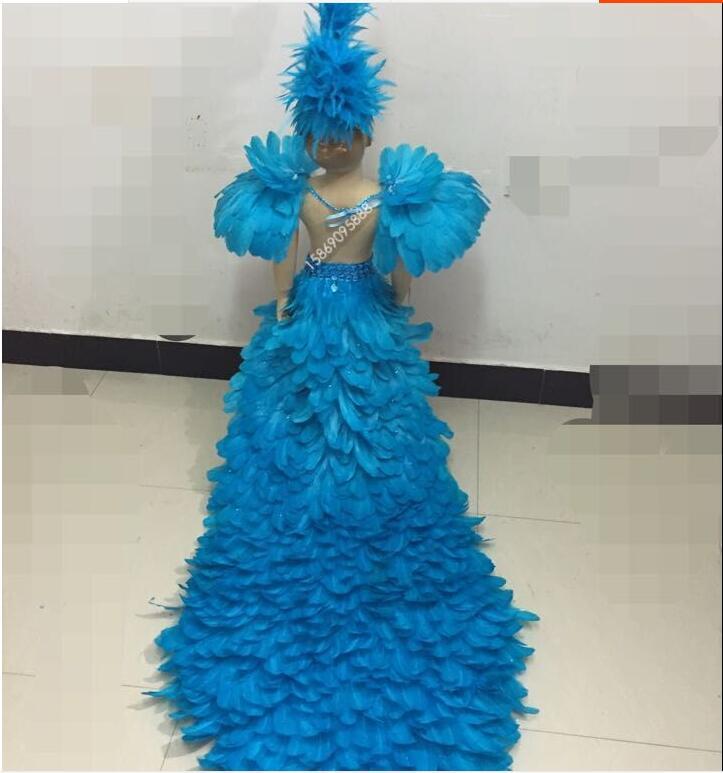 Много узоров, детский день, для девочек, подиумная цветная одежда со шлейфом, детские костюмы с бюстгальтером из перьев