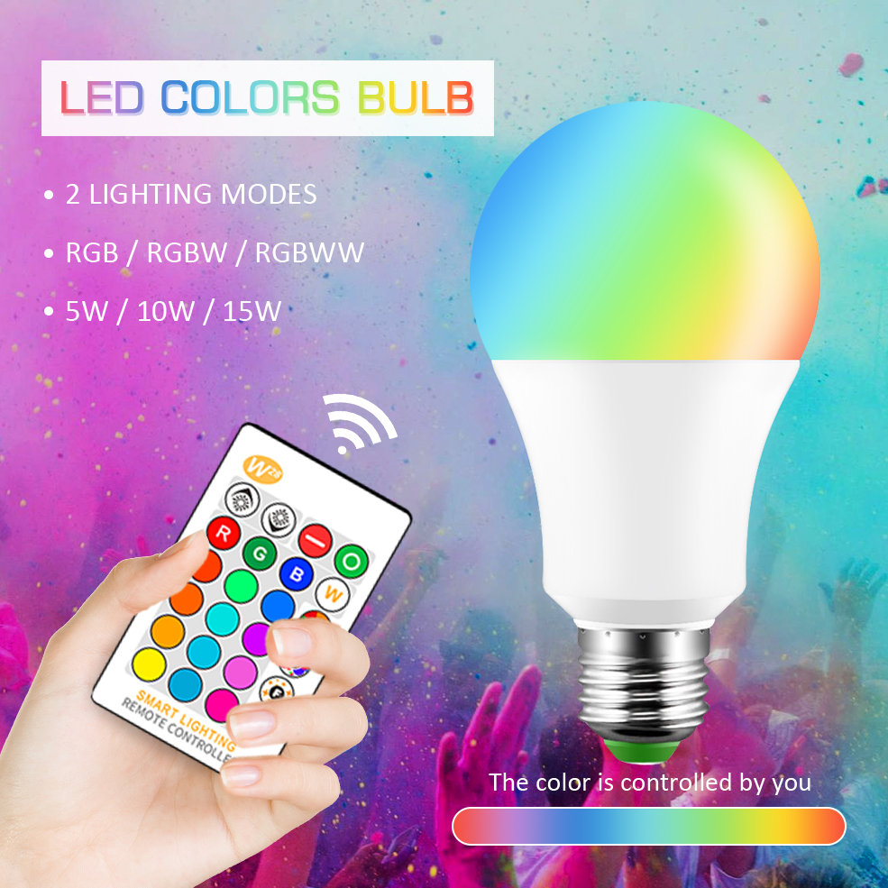 E27 LED Bulb 5W 10W 15W White RGB Color Changing RGBW Magic Smart Lamp 110V 220V Daylight IR Remote / Wall Switch Control