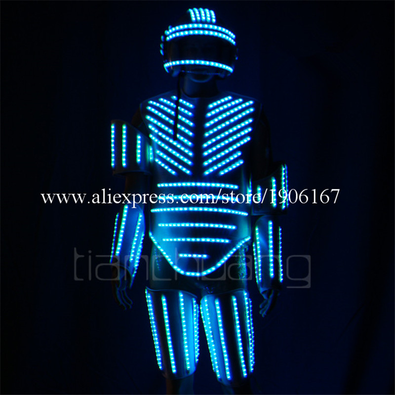Led light street dance armor dress bar flashing led light clothes stage fluorescent dance performance costumes4