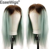 Eseewigs бразильский Синтетические волосы на кружеве парики предварительно сорвал Ombre 4 зеленый Цветной человеческих шелковистые прямые волос