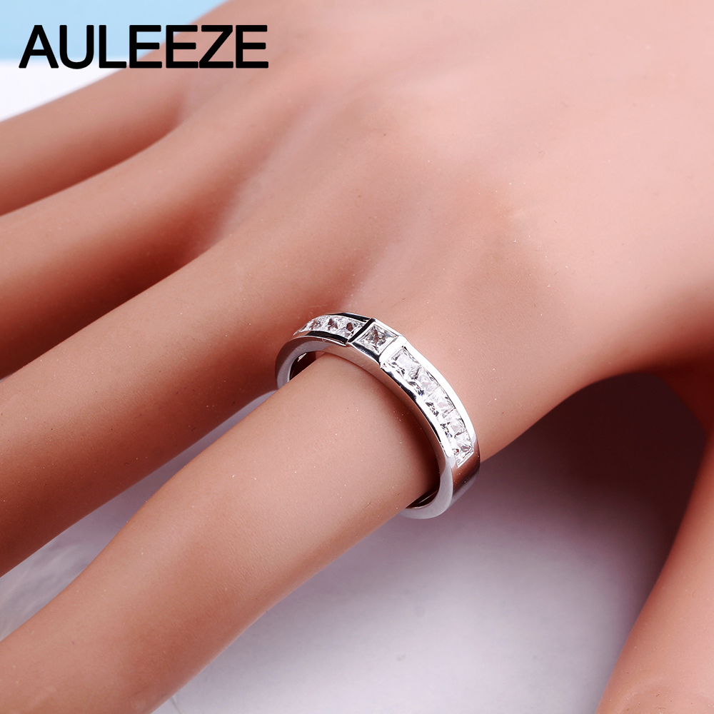 AULEEZE Classic 925 Sterling Silver Wedding Band Channel Set ...