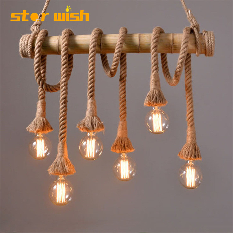 Star wish Bamboo hemp rope pendant lights creative restaurant decoration lamps retro bar table garden bamboo