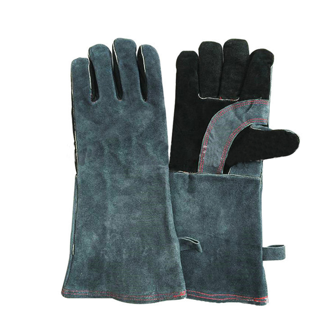 Leather work gloves china - 1 Pair Gloves Insulated Grip Cowhide Leather Work Gloves Reusable Safety Gardening Gloves China