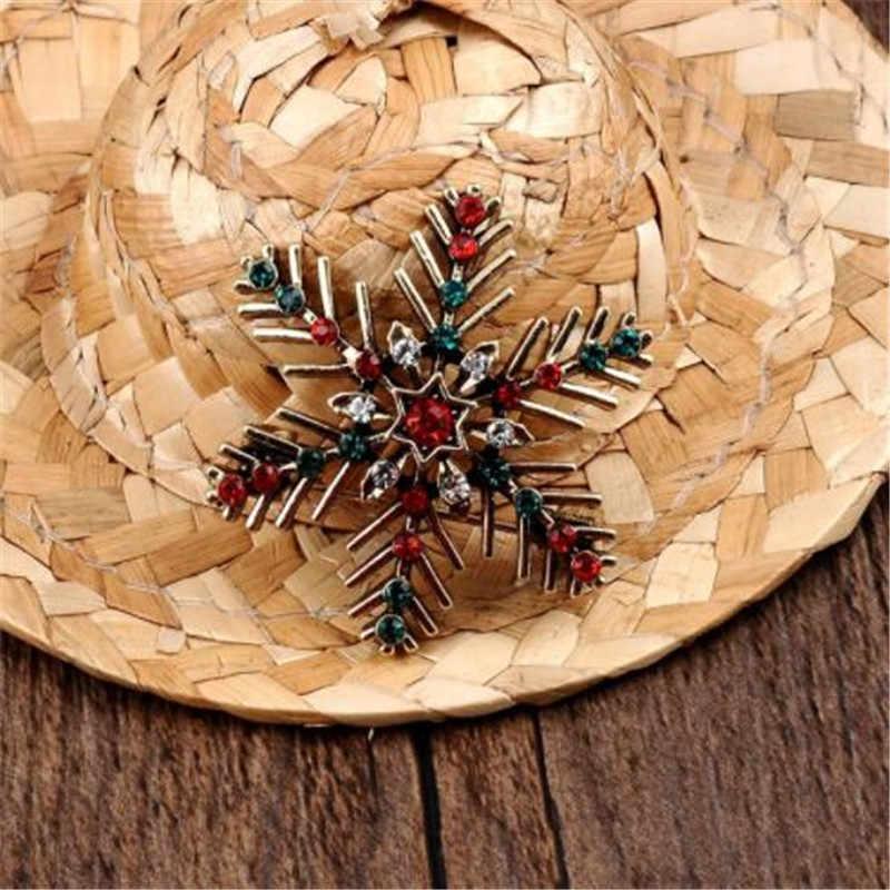 Wkoud Wanita Fashion Musim Dingin Bros Sparkling Crystal Rhinestones Besar Kepingan Salju Bros Pin Perhiasan Bros Wanita Hadiah Natal