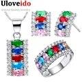 Uloveido 2016 sterling silver verde/roxo/vermelho/azul/rosa de cristal conjunto de jóias de casamento colar brincos anel define bijuterias t499