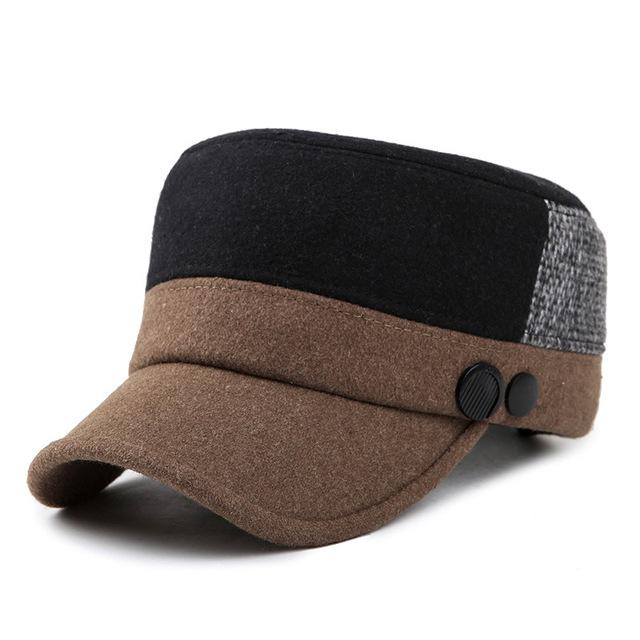 Moda masculina inverno e primavera lã outono chapéu cap homem do chapéu de lã térmica à prova de vento ao ar livre viseira osso lã grossa