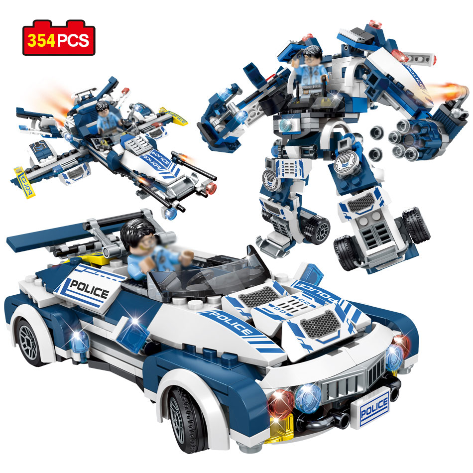 Sembo Block Police Robot Car Aircraft Action Toy Figures Building Blocks Compatible Legos Speed City Enlighten Bricks For Child