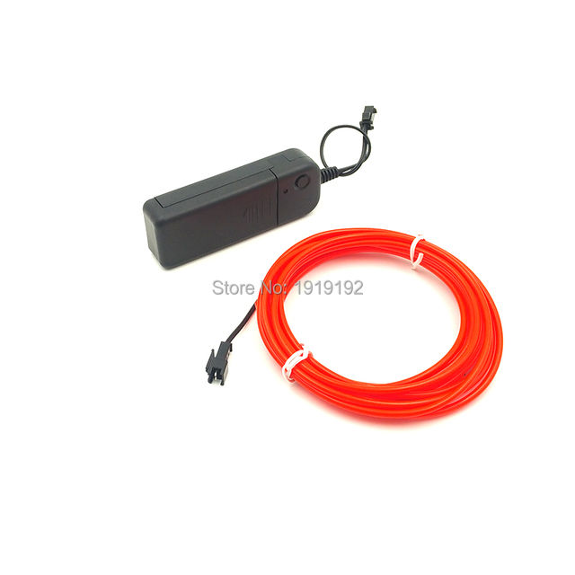 3.2mm 5Meters Flexible Neon Light Glow Red EL Wire Rope tape Cable ...