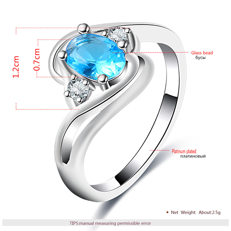BUYEE Silver Color Crystal Wedding Rings Mothers Day Jewelry Bague Bijoux Sea Blue Stone Femme Engagement Ring Accessories