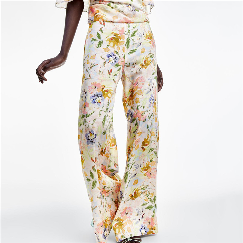 Women chiffon floral print   wide     leg     pants   high waist pleated pockets female 2019 summer wear loose trousers